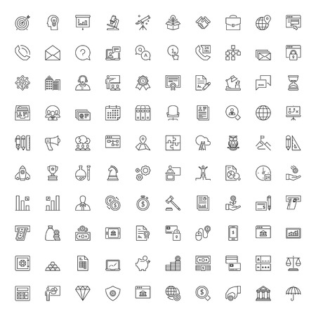 Icons set. 100 thin line symbols about business and finances Vettoriali