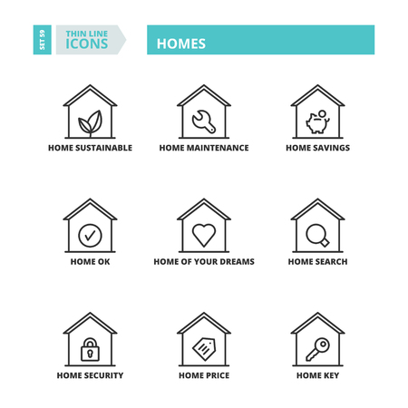homes: Flat symbols about homes. Thin line icons set. Illustration