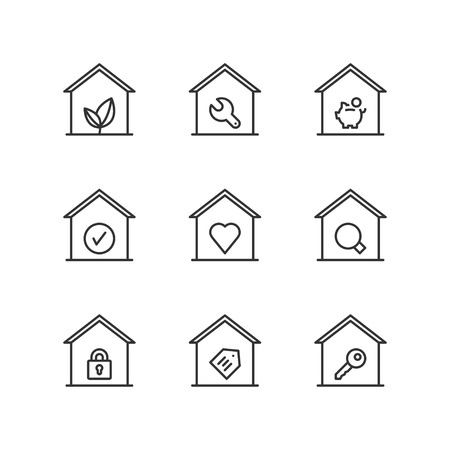 homes: Thin line icons set about homes. Flat symbols.