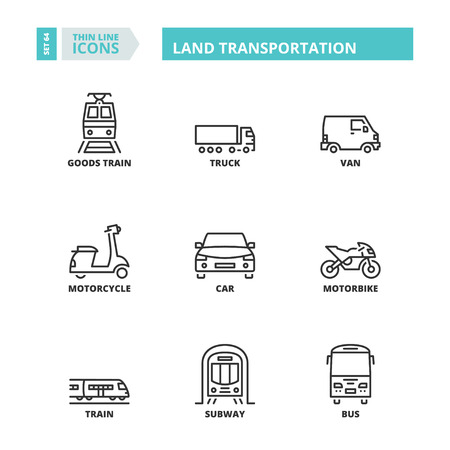 goods train: Flat symbols about land transport. Thin line icons set.