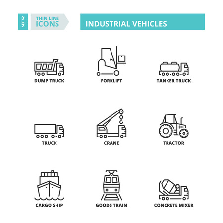 goods train: Flat symbols about industrial vehicles. Thin line icons set.