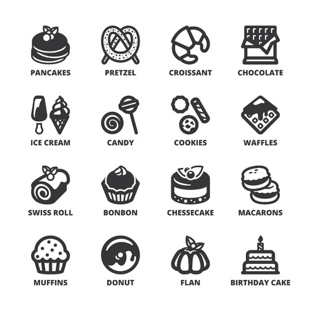 flan: Set of black flat symbols about desserts. Illustration