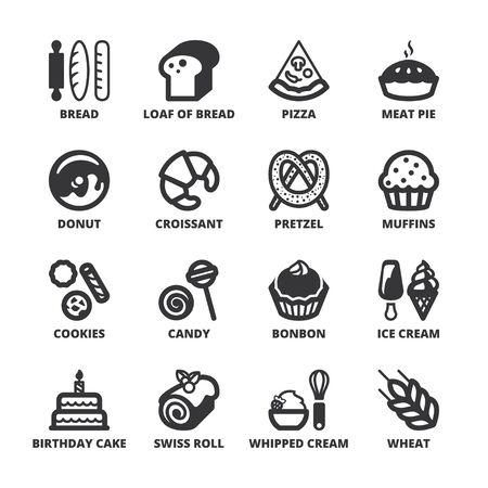 swiss roll: Set of black flat symbols about bakery