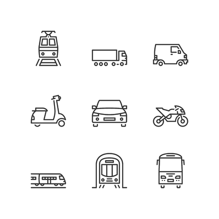 goods train: Thin line icons set about land transport. Flat symbols