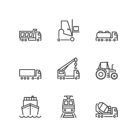 goods train: Thin line icons set about industrial vehicles. Flat symbols.