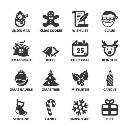 set symbols: Set of black flat symbols about Christmas