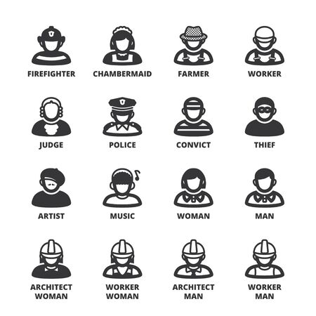 occupations: Set of black flat symbols about people. Occupations and roles