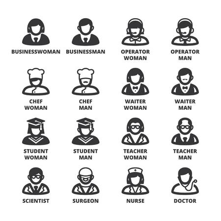 profesiones: Conjunto de símbolos negros planas sobre las personas. Profesiones y roles