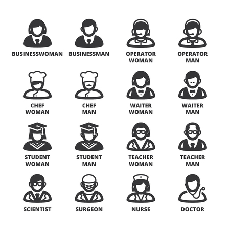 profession: Set of black flat symbols about people. Professions and roles Illustration
