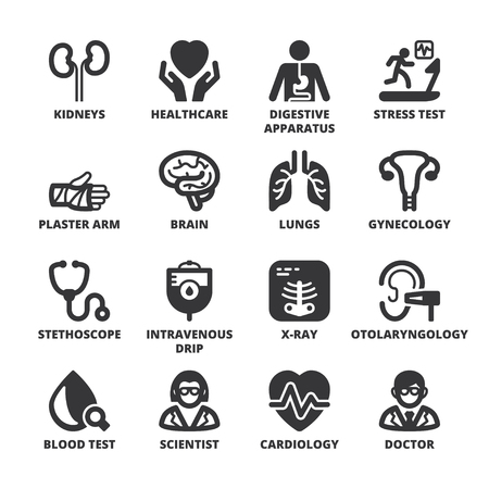 doctors and patient: Set of black flat symbols about health. Medical specialties Illustration