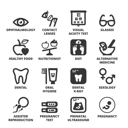 the test: Set of black flat symbols about healthcare. Nutrition. Dental. Ophthalmology. Pregnancy