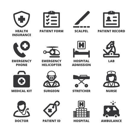 Conjunto de símbolos negros planas sobre la salud en una plaza con una larga sombra. Hospital y de emergencia.