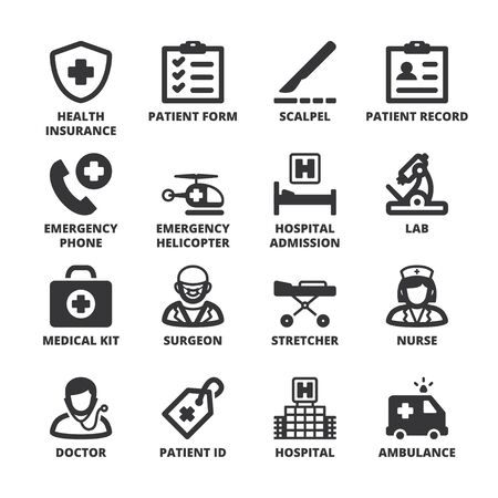 doctors and patient: Set of black flat symbols about health in a square with long shadow. Hospital and emergency.