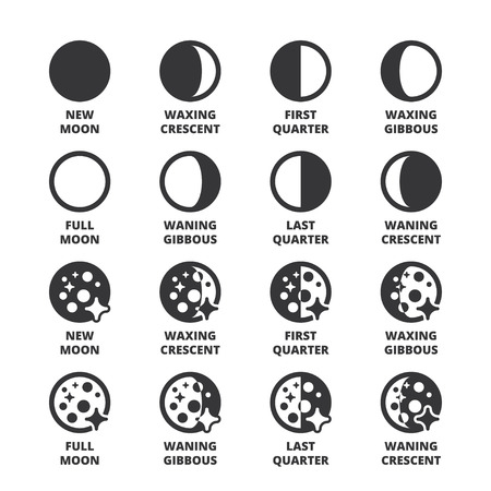 waxing gibbous: Set of black flat symbols about the weather. Moon phases Illustration