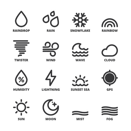 Set of black flat symbols about the weather. Forecast symbols 1
