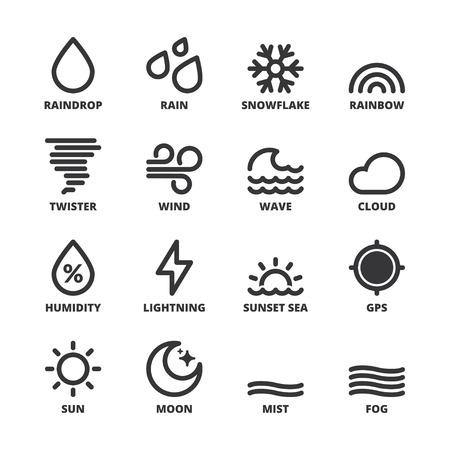 Set of black flat symbols about the weather. Forecast symbols 1