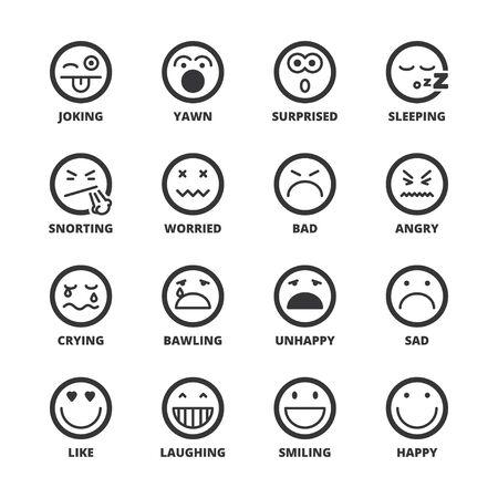 joking: Set of black flat symbols about emoticons