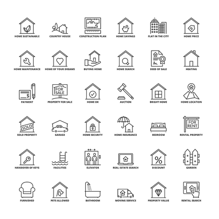 Outline icons set. Flat symbols about real estate