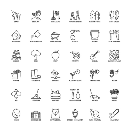 potting soil: Outline icons set. Flat symbols about gardening
