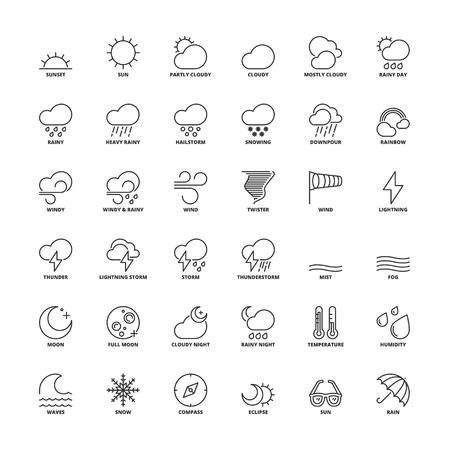 meteo: Impostare le icone di contorno. Simboli piatti sul tempo Vettoriali