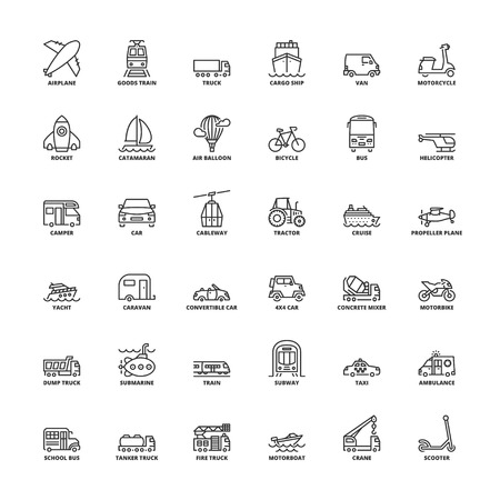 Outline icons set. Flat symbols about transport