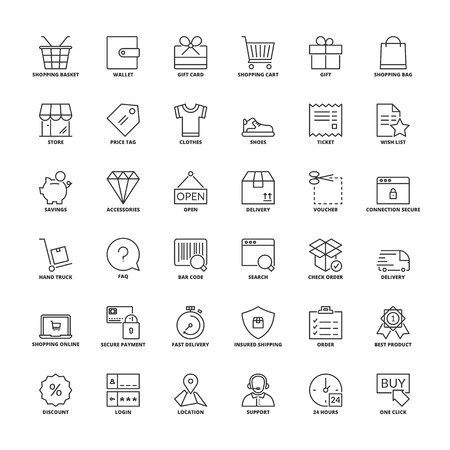 Outline icons set. Flat symbols about shopping  イラスト・ベクター素材