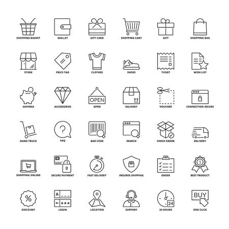 Outline icons set. Flat symbols about shopping 일러스트