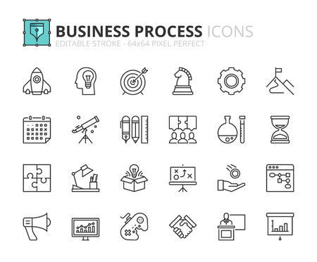 Outline icons about business process. Editable stroke. 64x64 pixel perfect.