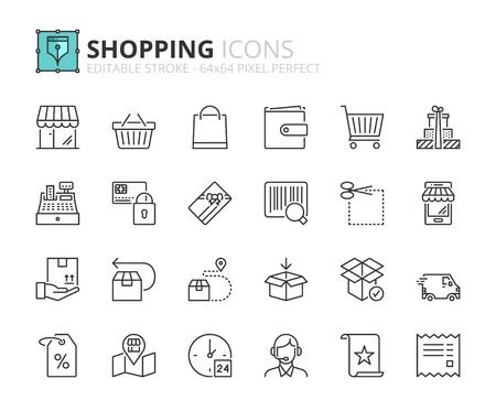 Gliederungssymbole über das Einkaufen. Bearbeitbarer Strich. 64x64 Pixel perfekt. Vektorgrafik