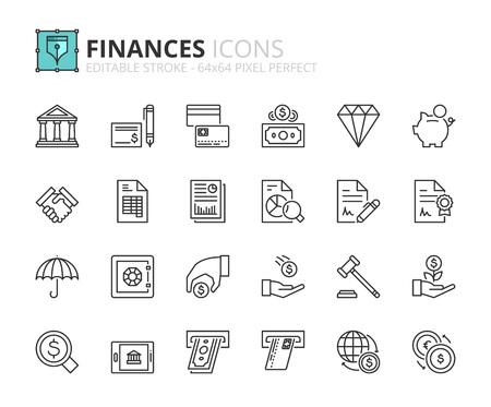 Esquema iconos sobre las finanzas. Trazo editable. 64x64 píxeles perfecto.