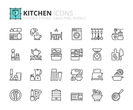 grater: Outline icons about kitchen. Editable stroke. 64x64 pixel perfect.