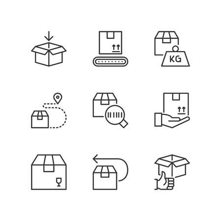 Outline icons about delivery, shipping and transport service. Çizim