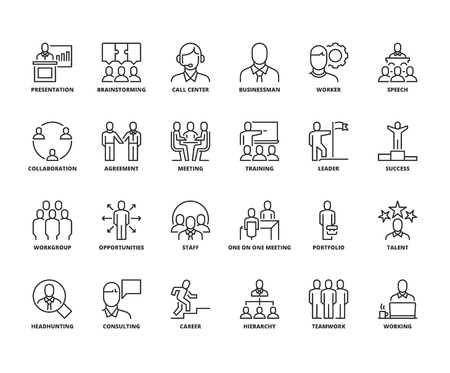 Lijnpictogrammen over zakenmensen. Bewerkbare streek. 64x64 pixel perfect.
