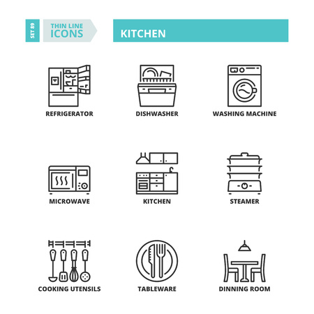 Line icons about kitchen.