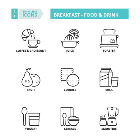 Line icons about breakfast. Food and drink. Vettoriali