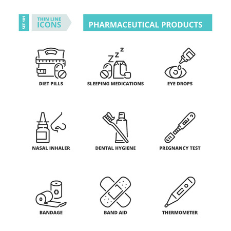Line icons about pharmaceutical products