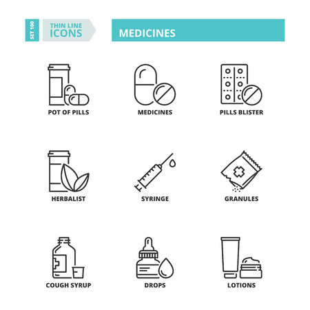 Line icons about medicines