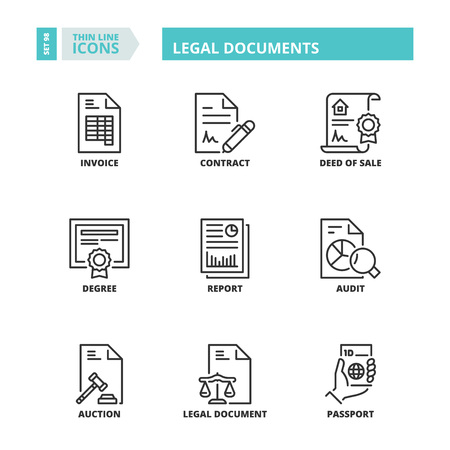 Line icons about legal documents