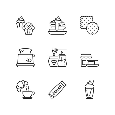 Outline icons about sweet breakfast Illustration