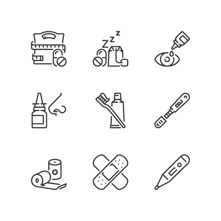 Outline icons about pharmaceutical products