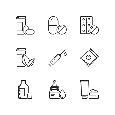 Outline icons about medicines