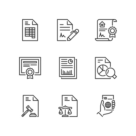 Outline icons about legal documents Illustration