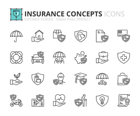 Outline icons about insurance concepts. Editable stroke. 64x64 pixel perfect.