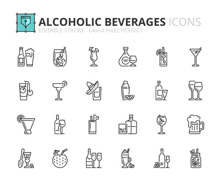 Outline icons about alcoholic beverages. Drinks. Editable stroke. 64x64 pixel perfect. Vectores