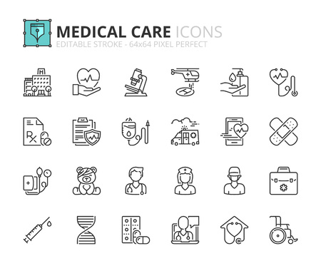 Outline icons about hospital and medical care. Editable stroke. 64x64 pixel perfect. Ilustração