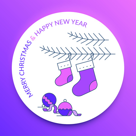 Merry Christmas and Happy New Year. Christmas stocking and ornaments. Illustration