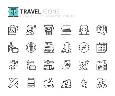 Esquema de iconos sobre viajes. Trazo editable. 64x64 píxeles perfecto.