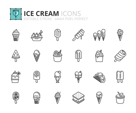 Outline icons about ice cream. Editable stroke. 64x64 pixel perfect.