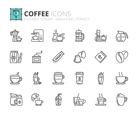Outline icons about coffee. Editable stroke. 64x64 pixel perfect.