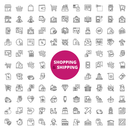Simple set of over 100 outline icons about shopping and shipping